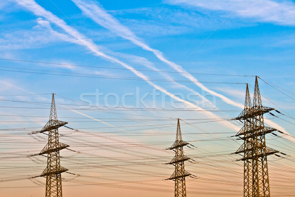 electrical tower in landscape with blue sky in sunrise Stock photo © meinzahn