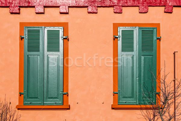 Téglafal régi ház ablak fal absztrakt városi Stock fotó © meinzahn