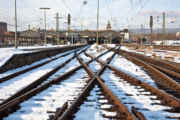 冬 駅 雪 背景 金属 ケーブル ストックフォト © meinzahn