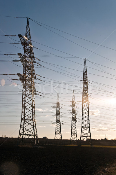 electricity tower in beautiful landscape Stock photo © meinzahn
