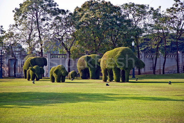 bushes cut to animal figures in the park of Bang Pa-In  Stock photo © meinzahn