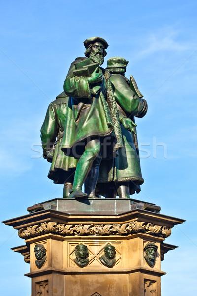 statue of Johannes Gutenberg  in Frankfurt  Stock photo © meinzahn
