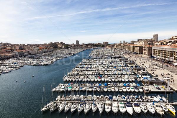 Antenne panoramisch oude haven Marseille Stockfoto © meinzahn