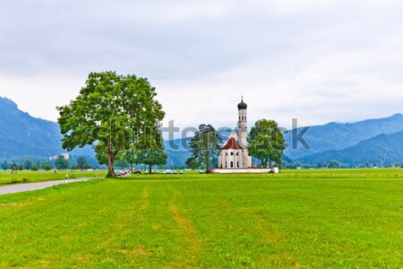 typical bavarian or austrian landscape with a chape Stock photo © meinzahn