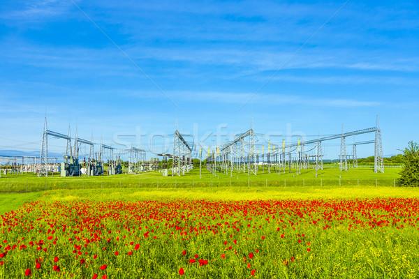 Energiecentrale distributie station mooie landschap hemel Stockfoto © meinzahn