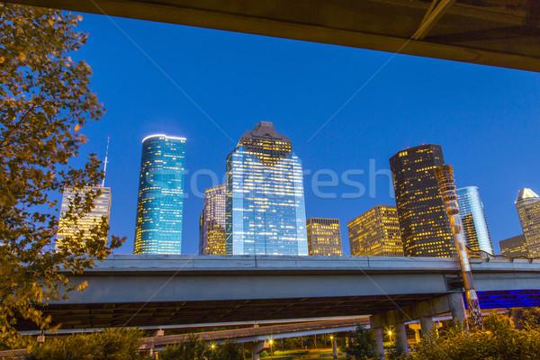 Kilátás belváros Houston éjszaka felhőkarcoló üzlet Stock fotó © meinzahn