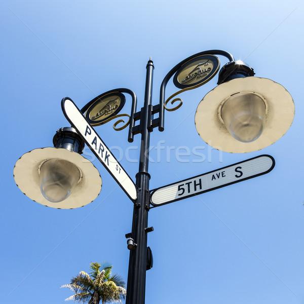 Foto stock: Histórico · placa · de · rua · Nápoles · Flórida · blue · sky · céu