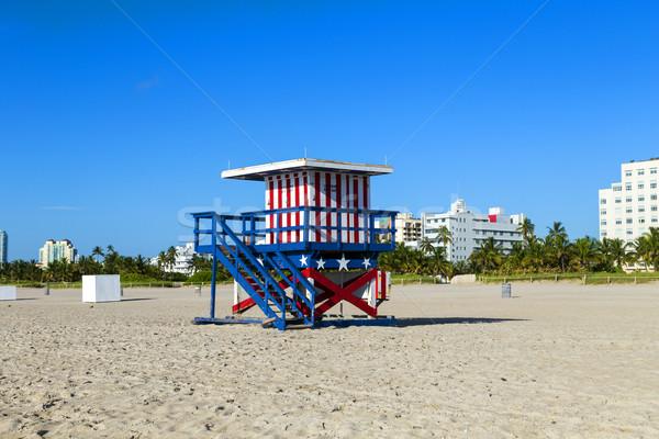 úszómester fülke üres tengerpart Miami Florida Stock fotó © meinzahn