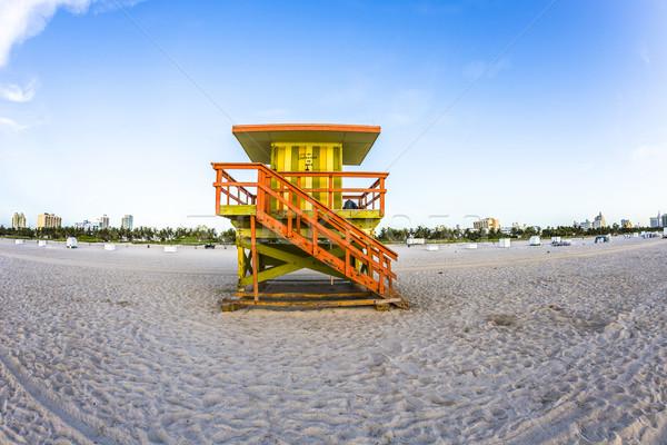 Vida guarda torre sul praia Miami Foto stock © meinzahn