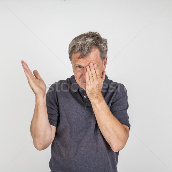 Portret volwassen man studio geïsoleerd witte Stockfoto © meinzahn