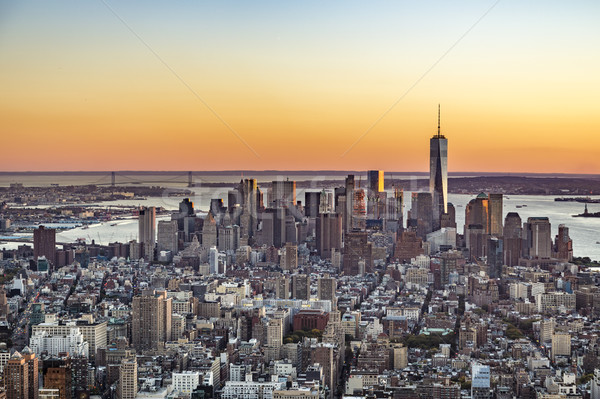 Spectaculaire Skyline New York Manhattan coucher du soleil or Photo stock © meinzahn
