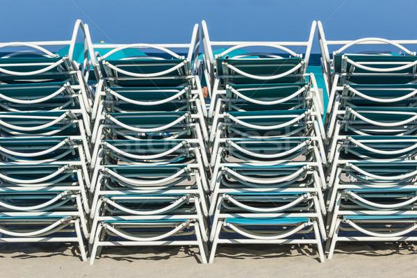 Stock fotó: Strandszékek · dél · tengerpart · Miami · késő · délután