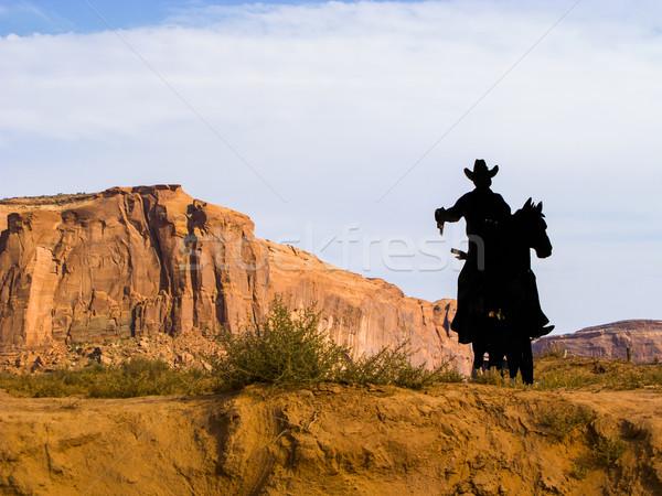 Cowboy sylwetka punkt dolinie niebo charakter Zdjęcia stock © meinzahn