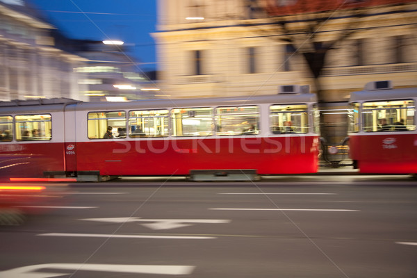 red old trolley car in Vienna in the first District by night Stock photo © meinzahn