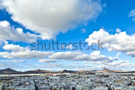 view to Arrecife and the volcanos of Lanzarote Stock photo © meinzahn