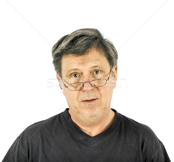 Portré férfi bánat arc szemek haj Stock fotó © meinzahn