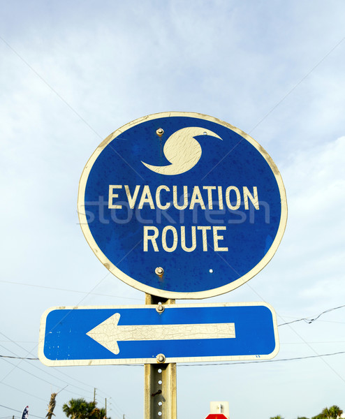 Stock photo: streetsign emergency route in eastpoint