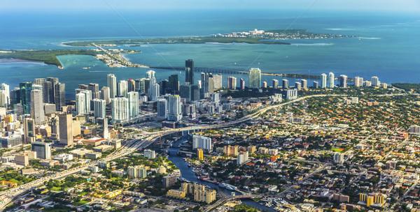 Antenne stad strand Miami stad licht Stockfoto © meinzahn