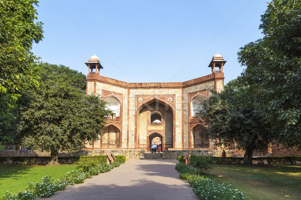 Foto stock: Túmulo · Délhi · Índia · portão · árvore · grama