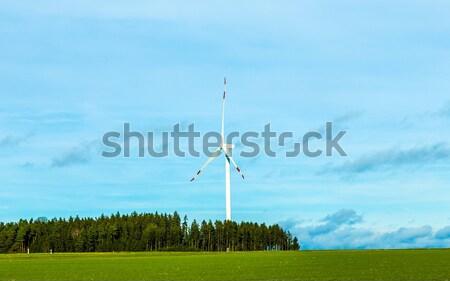 Wind generator landschap blauwe hemel zon veld Stockfoto © meinzahn