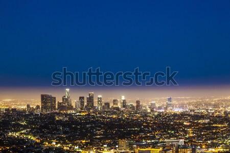 Skyline Los Angeles nacht Blauw donkere hemel Stockfoto © meinzahn