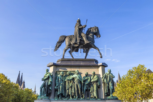 Monument in center of Cologne of Kaiser Freidrich Wilhelm at Heu Stock photo © meinzahn