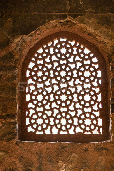 beautiful carved sandstone window in a mosque  Stock photo © meinzahn