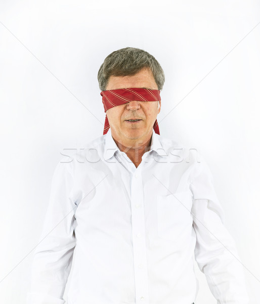 businessman with necktie covering his eyes Stock photo © meinzahn