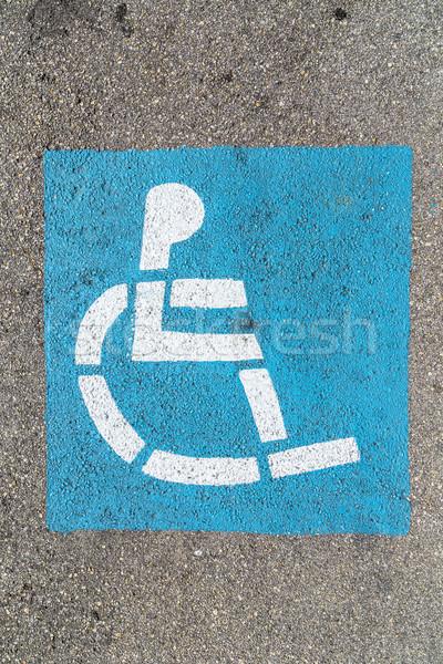 ストックフォト: 車いす · にログイン · 駐車場 · 青 · 通信 · 写真