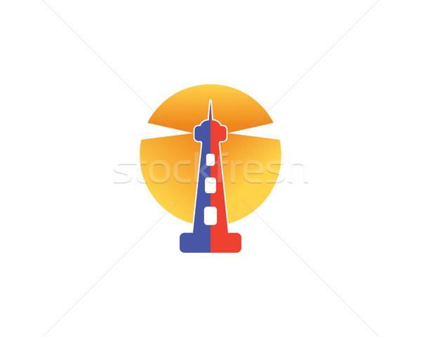 Baken logo symbool mariene vuurtoren water Stockfoto © meisuseno