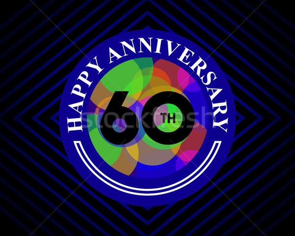 60 évforduló ünneplés kártya sablon üdvözlőlap Stock fotó © meisuseno