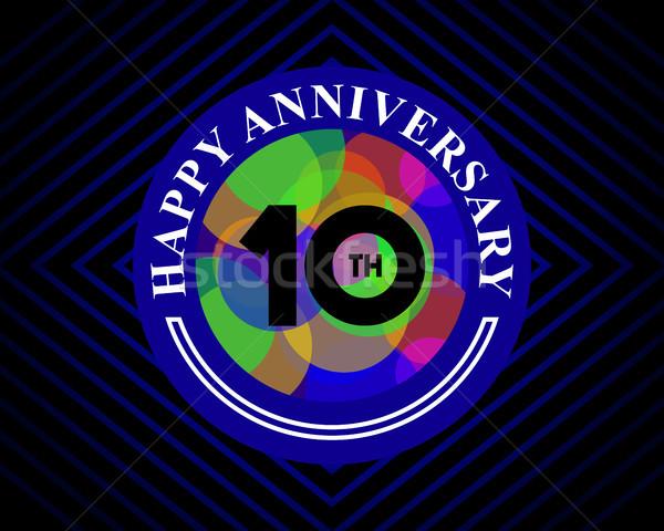 10 anniversario celebrazione carta modello biglietto d'auguri Foto d'archivio © meisuseno