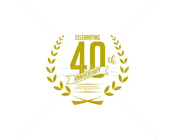 Czterdzieści rok rocznicy odznakę sztuki obiektu Zdjęcia stock © meisuseno