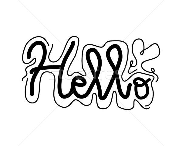 hello handwritten lettering Stock photo © meisuseno
