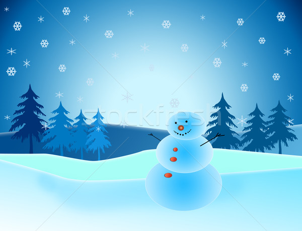 Snowman in winter scene Stock photo © melking