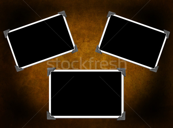 Three Photo frames isolated on background with texture Stock photo © melking