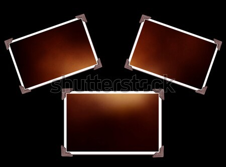 Three Photo frames isolated on black with texture Stock photo © melking