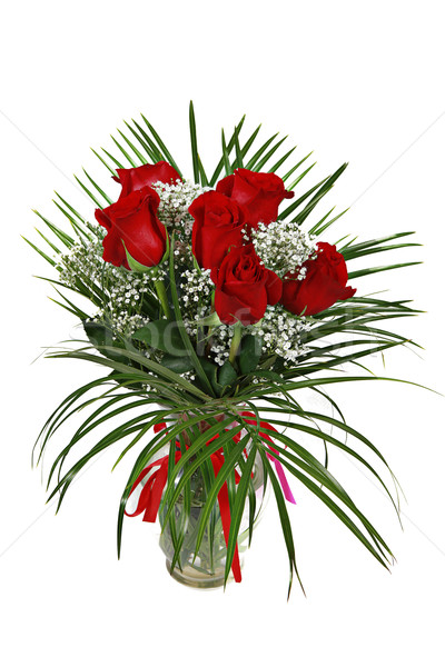 Red roses in vase isoalted on white Stock photo © melking