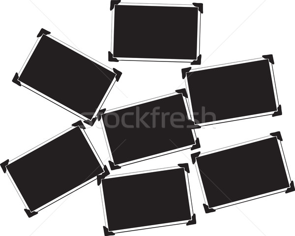 Collection of Seven Blank Pictures with photo corners Stock photo © melking