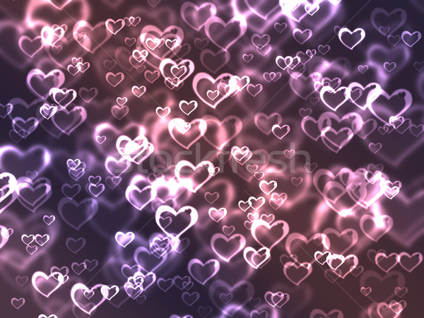 Abstract glowing Hearts on a colorful background Stock photo © melking
