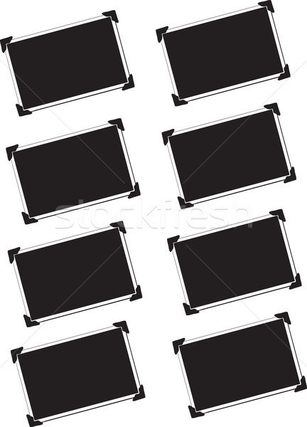 Eight Blank Pictures with photo corners Stock photo © melking