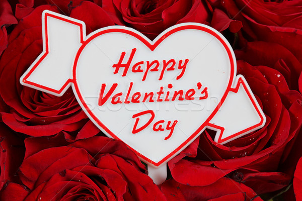 Happy Valentines Day sign on red roses Stock photo © melking