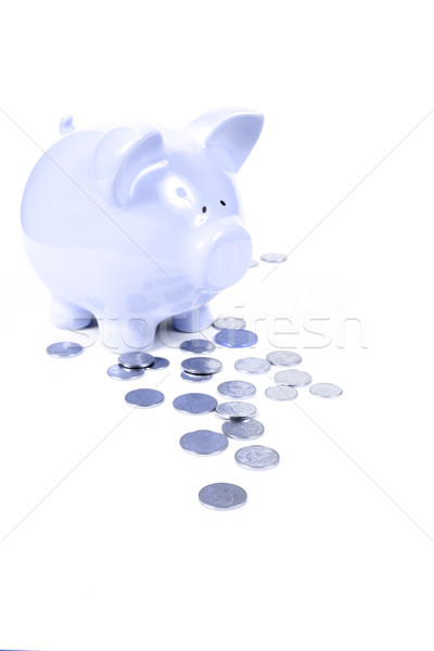 Blue Piggy Bank on white background Stock photo © melking