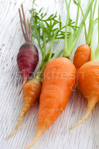 Organic garden carrots Stock photo © Melpomene