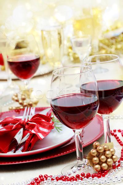 ünnep vörösbor karácsony vacsora üveg asztal Stock fotó © Melpomene