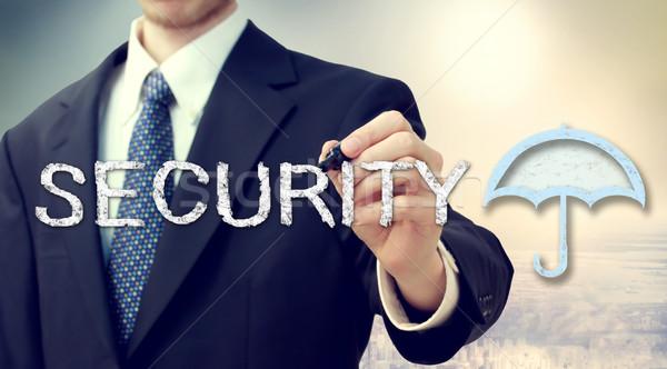 ストックフォト: セキュリティ · 傘 · ビジネスマン · 図面 · 文字 · 画像