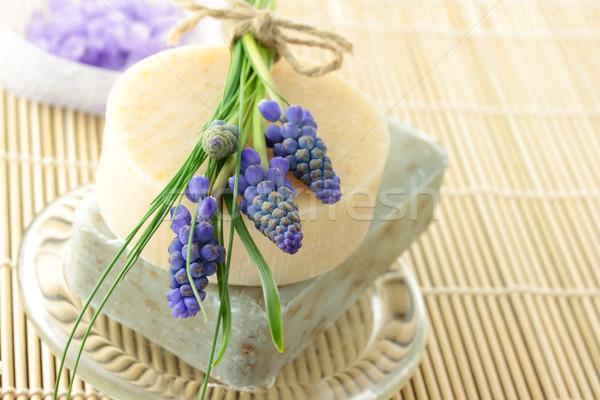 Foto stock: Feito · à · mão · sabão · uva · jacinto · lavanda