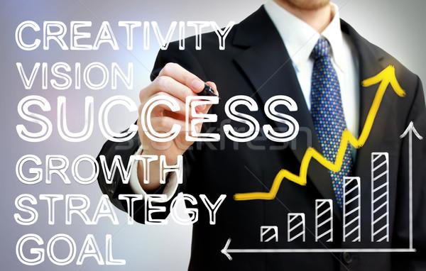 ストックフォト: ビジネスマン · 書く · 成功 · 矢印