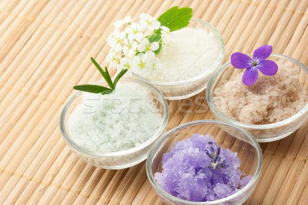 Bath salt with flowers Stock photo © Melpomene
