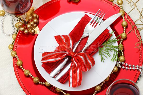 праздник пластин столовое серебро Рождества пластина Сток-фото © Melpomene